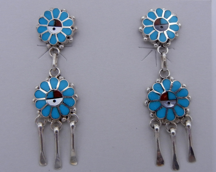 native-american-indian-jewelry-zuni-earrings-multi-stone-inlay-sterling-silver-sunface