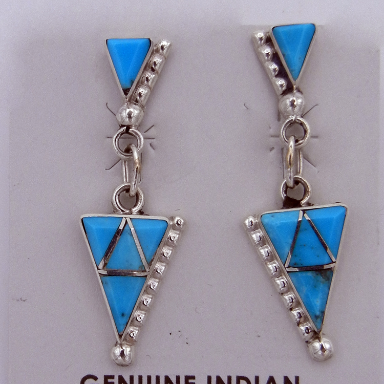 Zuni Turquoise and Sterling Silver Inlay Small Dangle Earrings