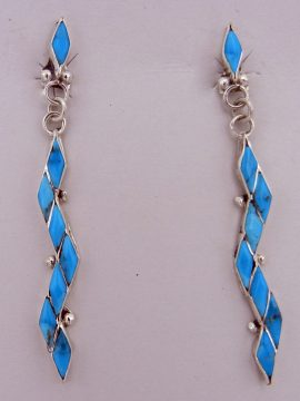 Zuni Turquoise and Sterling Silver Inlay Zig Zag Earrings