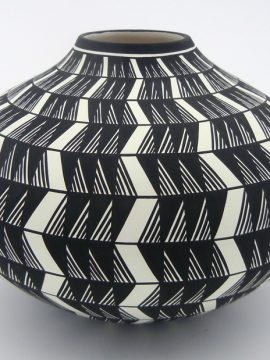 Acoma Paula Estevan Black and White Weather Pattern Seed Pot