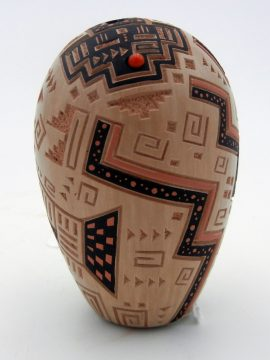 Jemez Glendora Fragua Etched and Painted Yei and Geometric Design Egg Shaped Seed Pot