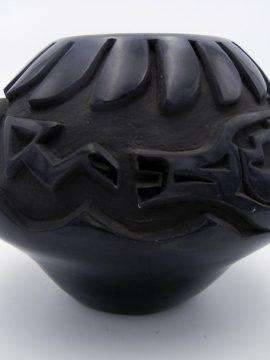 Santa Clara Chris Martinez Black Carved Avanyu Jar