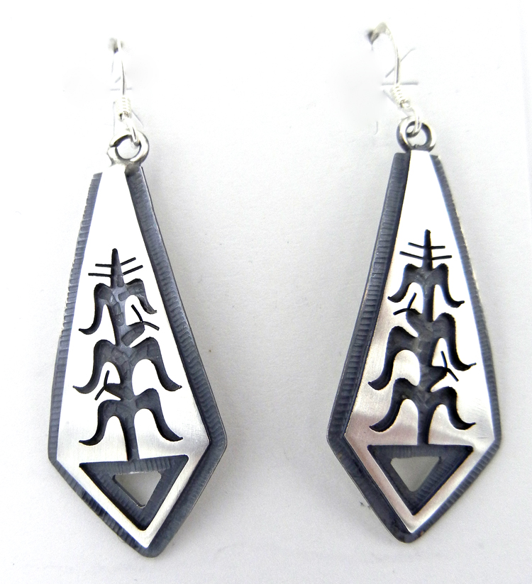 Hopi Sterling Silver Overlay Corn Stalk Dangle Earrings