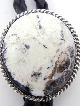 Navajo White Buffalo and Sterling Silver Bolo Tie
