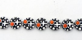 "Navajo ""Million Dollar Drop"" Collection Orange Spiny Oyster and Applique Sterling Silver Link Bracelet"