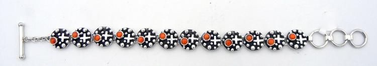 Navajo orange spiny oyster and applique sterling silver link bracelet