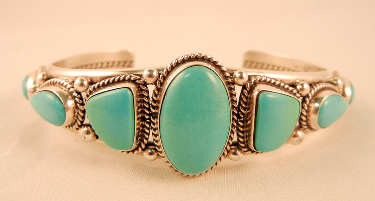 Navajo Sleeping Beauty Turquoise and Sterling Silver Row Cuff Bracelet