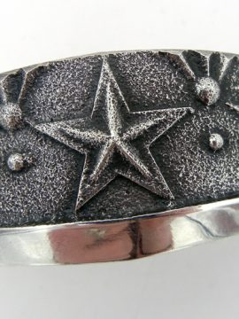 Navajo Anthony Bowman Sterling Silver Tufa Cast Star Cuff Bracelet