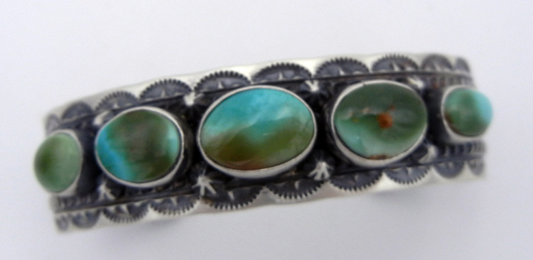 Five stone Royston turquoise and sterling silver Navajo cuff by June Defauito