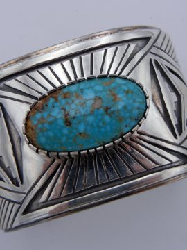 Navajo Wide Shank Kingman Turquoise and Sterling Silver Cuff Bracelet