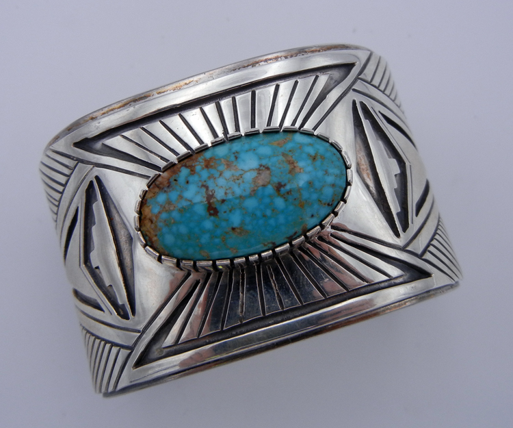 Navajo wide shank sterling silver and Kingman turquoise cuff bracelet
