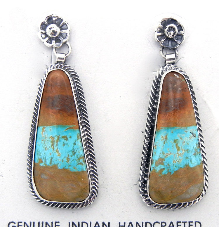 Navajo Royston Ribbon turquoise and sterling silver dangle earrings