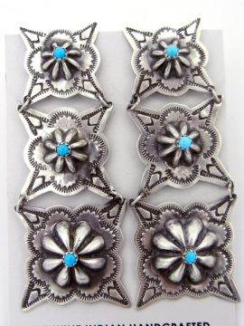 Navajo Rita Lee Brushed Sterling Silver and Turquoise Repousse Earrings