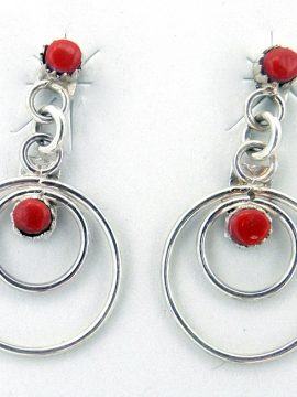 Navajo Small Coral and Sterling Silver Circle Dangle Earrings