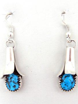 Navajo Doris Smallcanyon Turquoise and Sterling Silver Squash Blossom Earrings