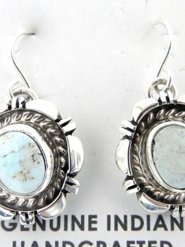 Navajo Small Dry Creek Turquoise and Sterling Silver Dangle Earrings