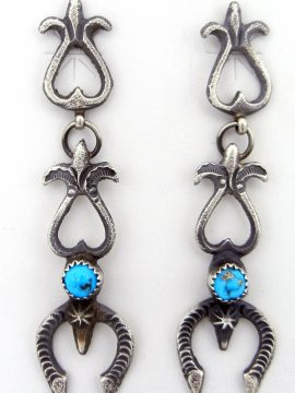 Navajo Linberg and Eva Billah Sandcast Sterling Silver and Turquoise Naja Earrings