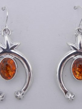 Navajo Amber and Sterling Silver Naja Dangle Earrings