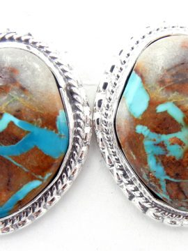 Navajo Small Boulder Turquoise and Sterling Silver Earrings
