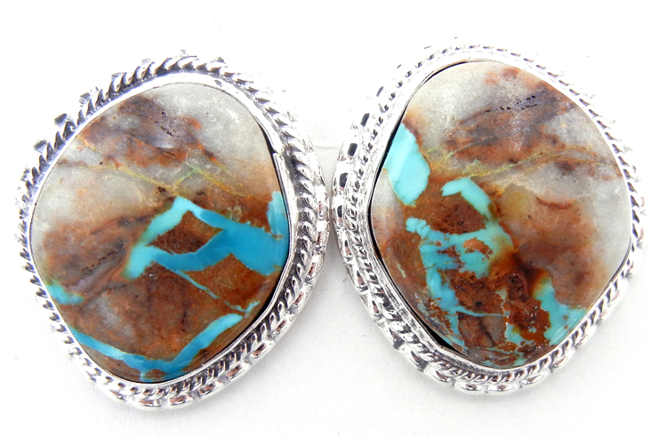 Navajo Boulder turquoise and sterling silver post earrings