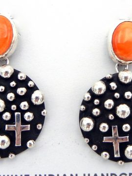 "Navajo Raymond Coriz ""Million Dollar Drop"" Collection Sterling Silver Applique and Orange Spiny Oyster Earrings"