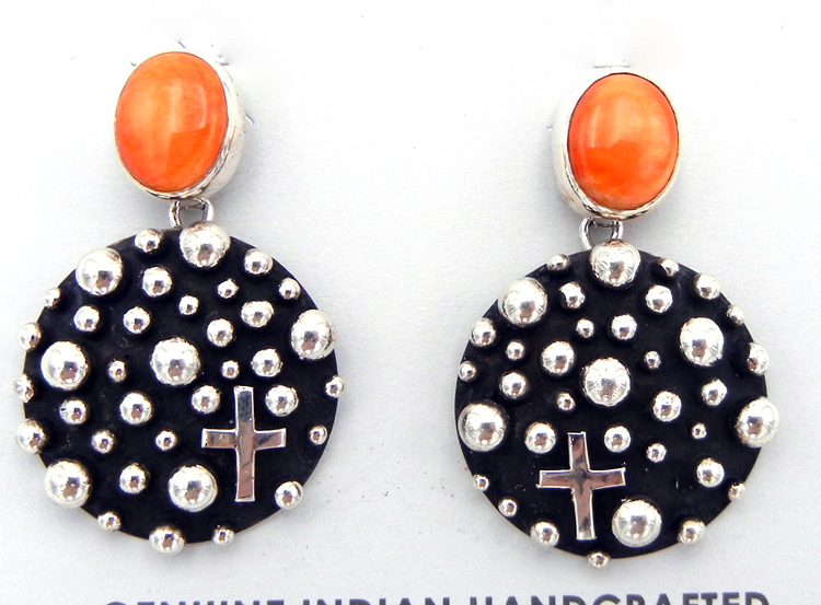 Navajo orange spiny oyster and sterling silver applique earrings