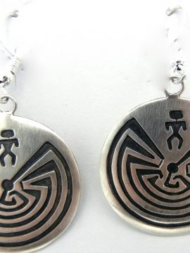 Navajo Sterling Silver Overlay Man in the Maze Earrings