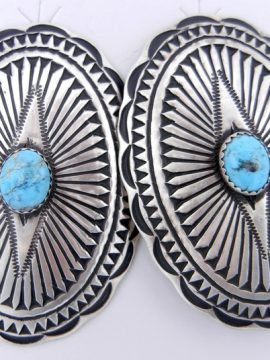 Navajo Large Brushed Sterling Silver and Turquoise Concho Style Earrings