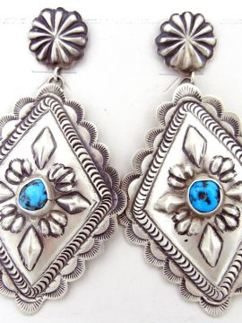 Navajo Eugene Charley Brushed sterling Silver and Turquoise Earrings