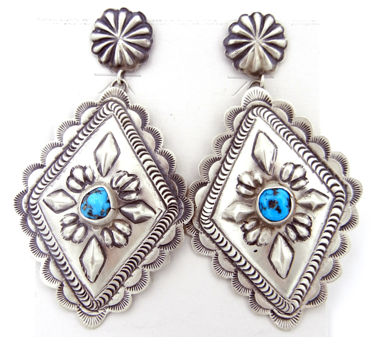 Navajo brushed sterling silver and turquoise earrings by Eugene Charley