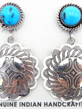 Navajo Turquoise and Stamped Sterling Silver Medallion Earrings