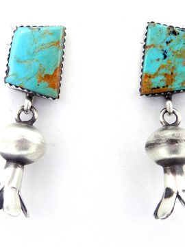 Navajo Turquoise and Brushed Sterling Silver Squash Blossom Earrings