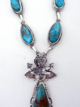 Navajo Bennie Ration Turquoise and Sterling Silver Shalako Necklace