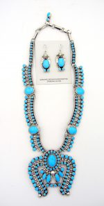 Navajo sleeping beauty turquoise necklace with naja and earring set including sterling silver