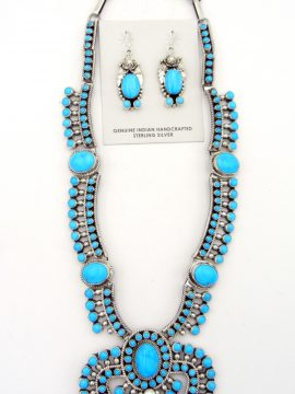 Navajo Sleeping Beauty Turquoise and Sterling Silver Necklace with Naja and Earring Set