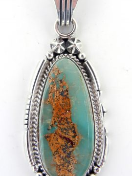 Navajo Kingman Turquoise and Sterling Silver Pendant