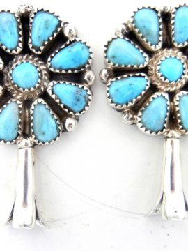 Navajo Evelyn Platero Turquoise and Sterling Silver Squash Blossom Earrings