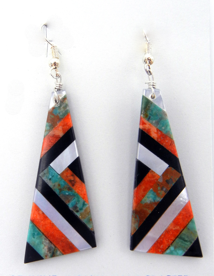 Multi-stone inlay slab earrings by Santo Domingo artist Chaslyn Crespin featuring turquoise, jet, apple coral and white mother of pearl