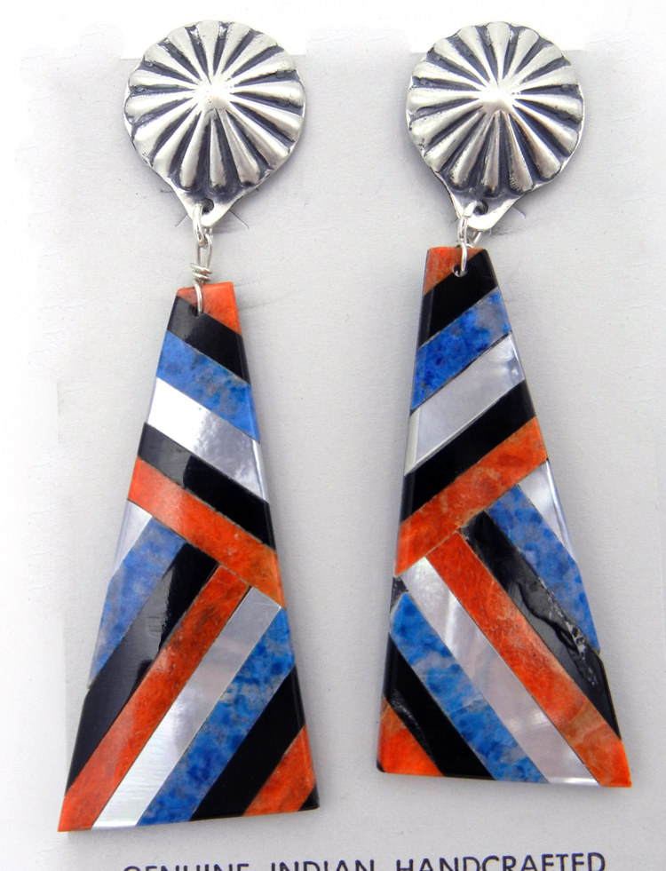 Santo Domingo slab earrings inlaid with apple coral, denim lapis, jet and white mother of pearl by Chaslyn Crespin