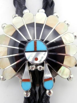 Zuni Multi-Stone Inlay and Sterling Silver Sunface Bolo Tie