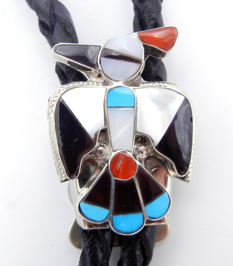 Zuni Multi-Stone Inlay and Sterling Silver Thunderbird Bolo Tie
