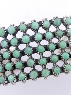 Navajo Green Kingman Turquoise and Sterling Silver Row Cuff Bracelet