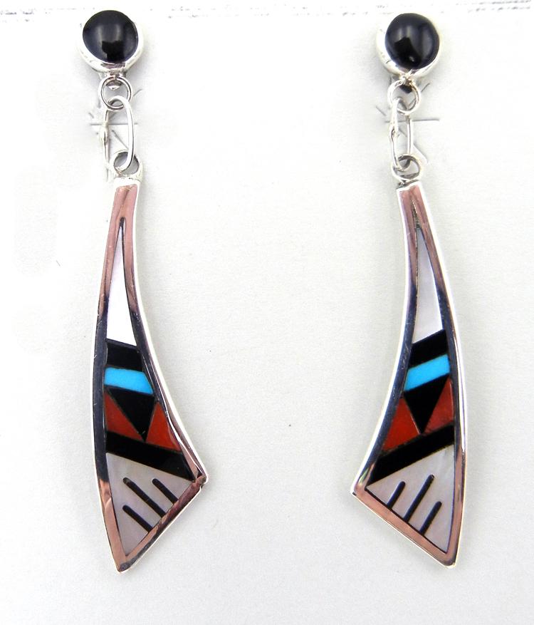 Multi-stone inlay Zuni dangle earrings