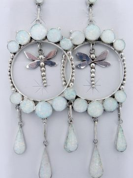 "Zuni Large Lab Opal and Sterling Silver ""Dreamcatcher"" Dangles with Dragonflies"