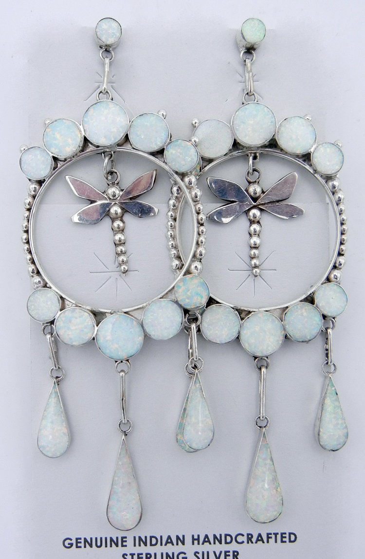 Zuni earrings made of sterling silver and lab opal featuring a sterling silver dragonfly