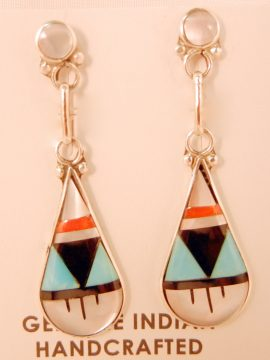 Zuni Small Multi-Stone Inlay and Sterling Silver Dangle Earrings