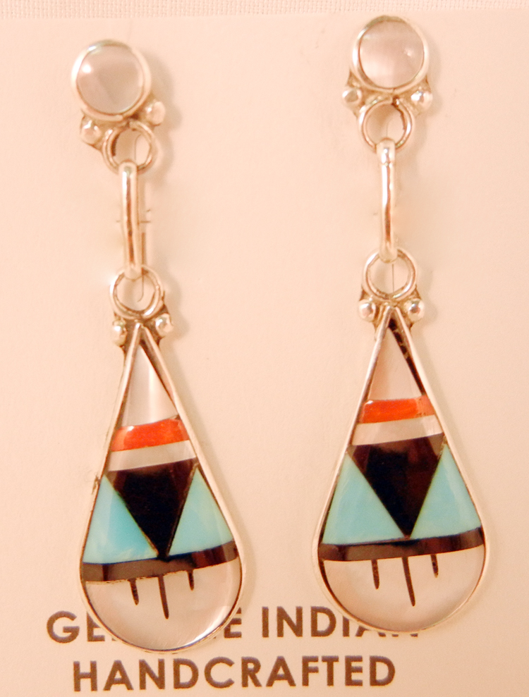 Pair of multi-stone inlay and sterling silver Zuni dangles in a tear drop shape