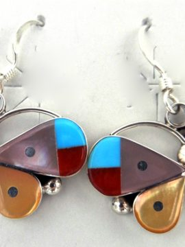 Zuni Small Multi-Stone Inlay and Sterling Silver Butterfly Earrings