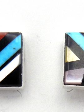Zuni Small Multi-Stone Inlay and Sterling Silver Square Earrings