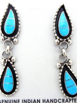 Zuni Sleeping Beauty Turquoise and Sterling Silver Inlay Double Tear Drop Earrings